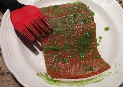 Step 5- brush matcha seasoning onto salmon filet